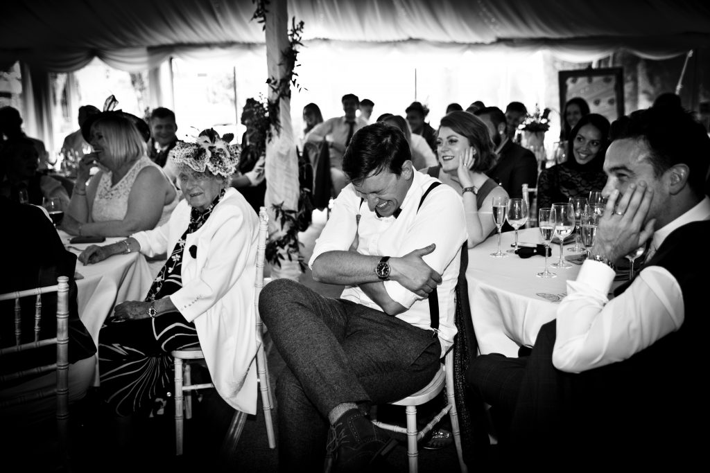 laughing fun speech reception breakfast