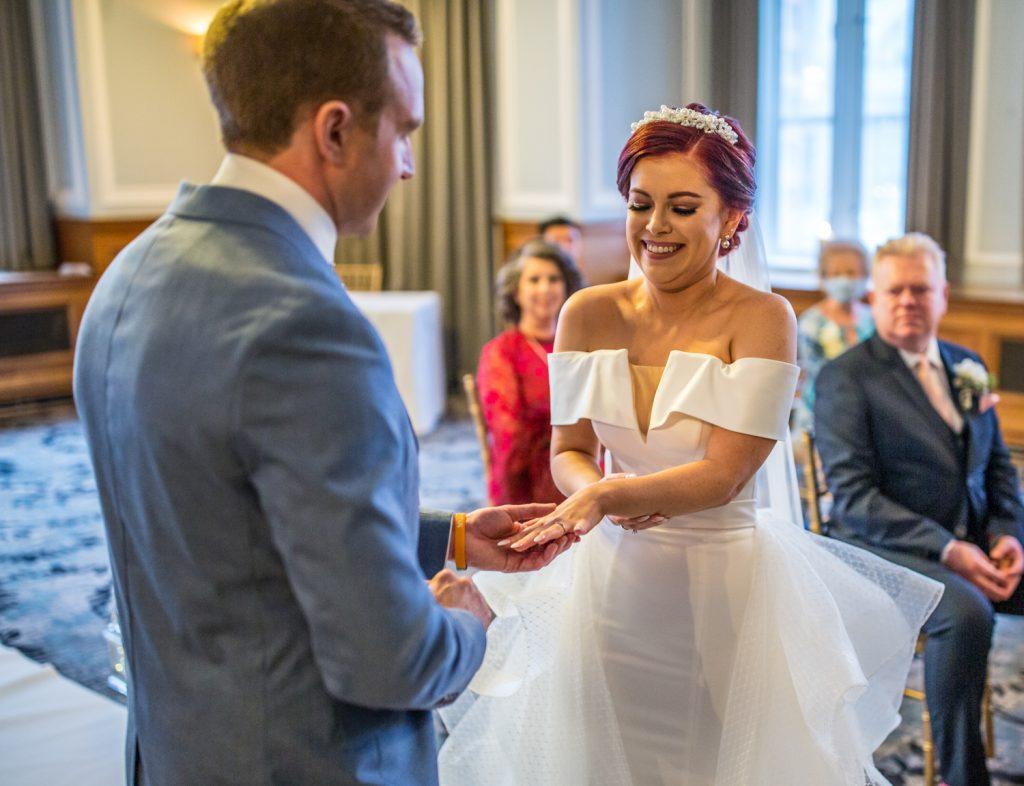 dress, wedding, rings, married, bride, groom, Andaz Hotel,