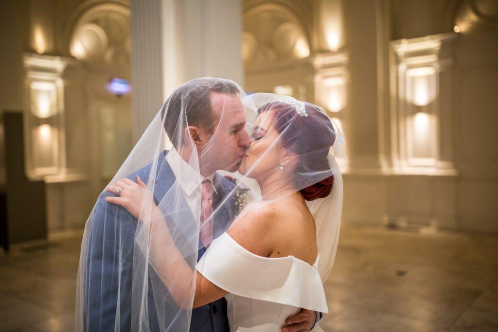 wedding, married, bride, groom, Andaz Hotel. vail, kiss,