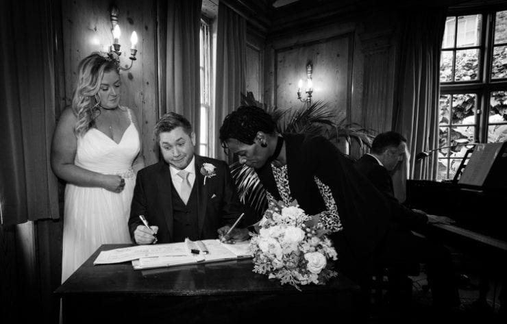Bride & groom getting married.
