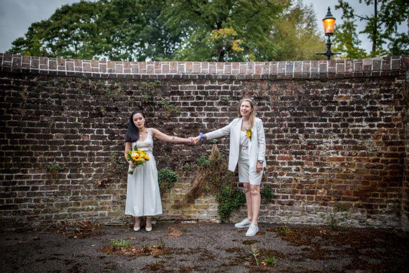 two bride, gay, wedding, brides