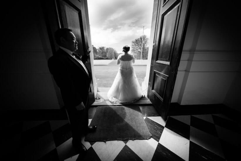 bride groom entrance dress wedding bdoorway
