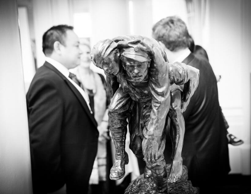 statue military groom guests wedding