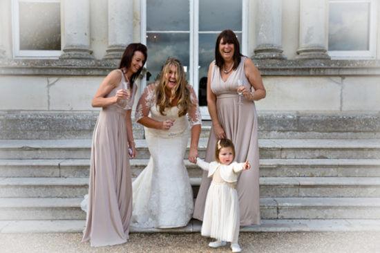 Michelle bride bridesmaids laugh laughing wedding