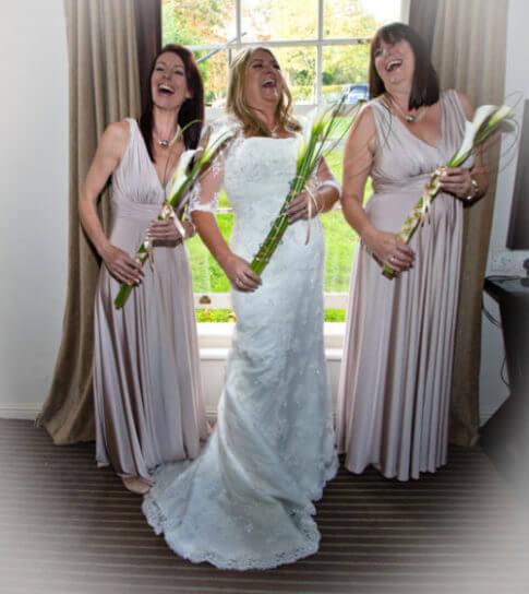 Michelle wedding bride bridesmaids laugh