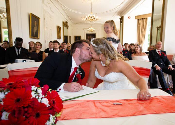 bride groom kiss marriage