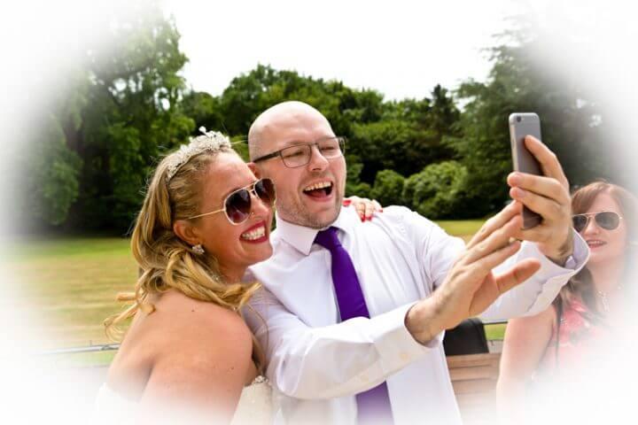 bride wedding guests fun smile