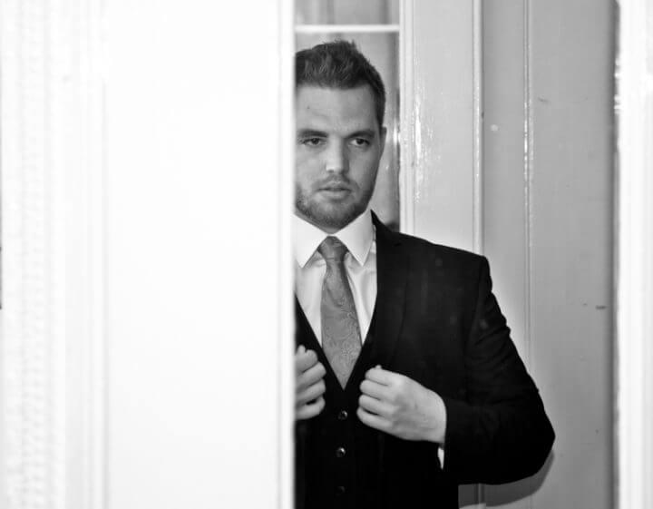 groom mirror handsome reflection