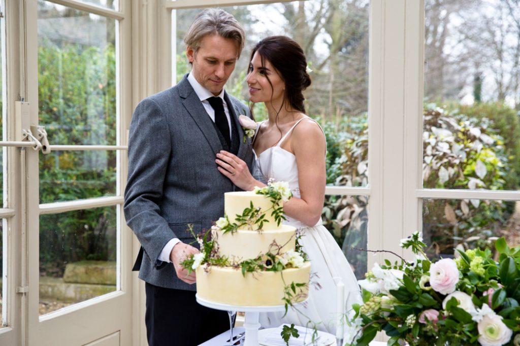wedding dress bride groom cake