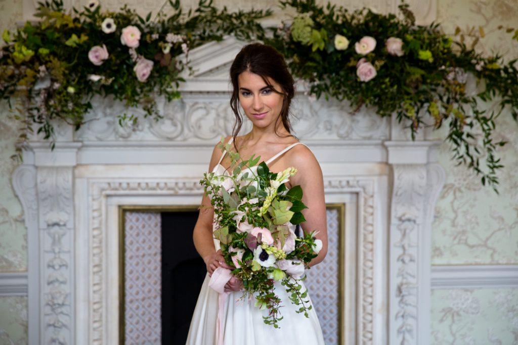 bride wedding dress bouquet flowers