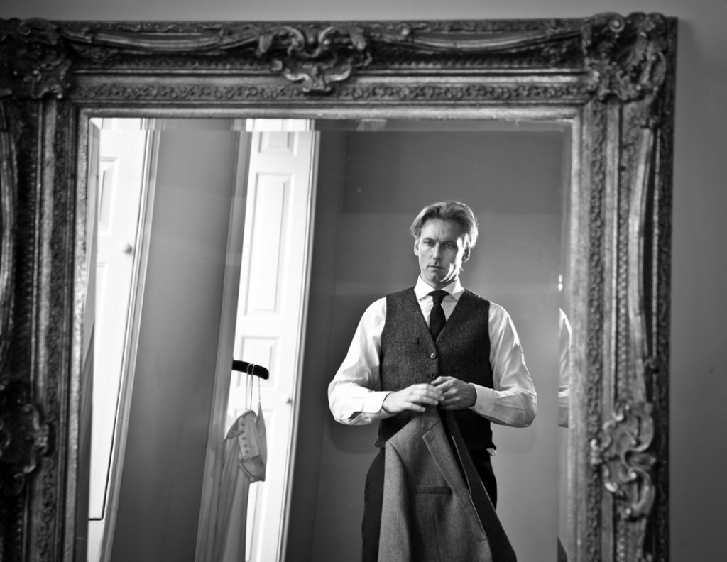groom wedding mirror reflection