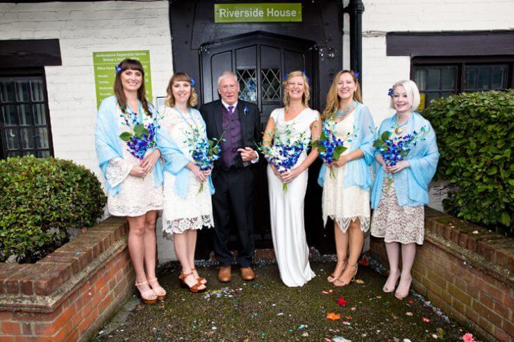 bride brides maids father