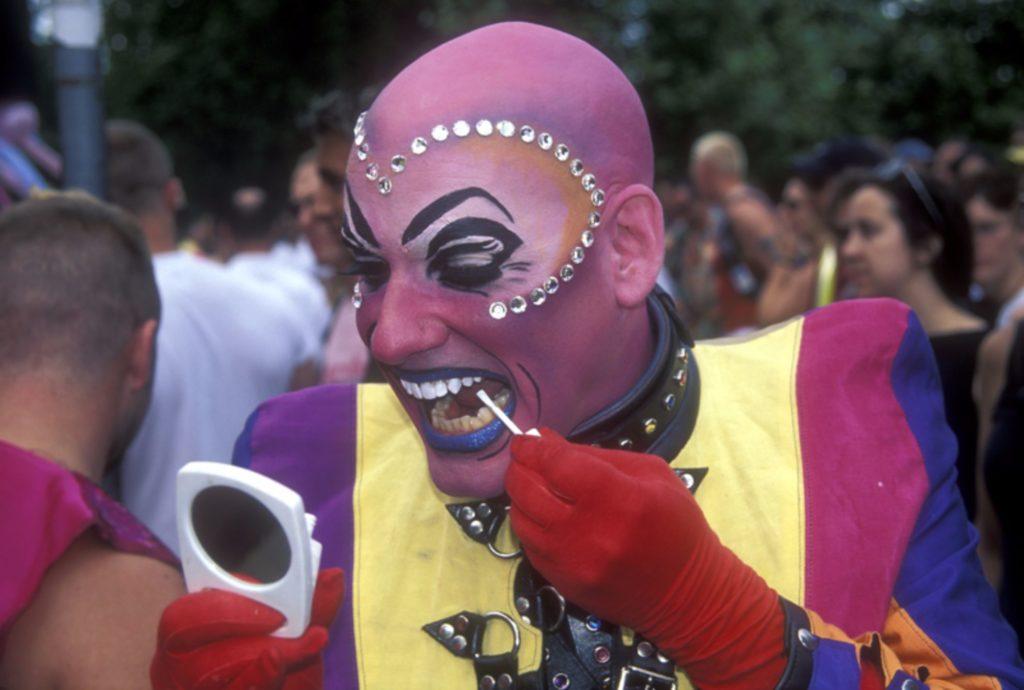 Gay man makeup pride London