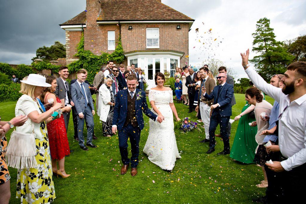 confetti bride & groom grass manor
