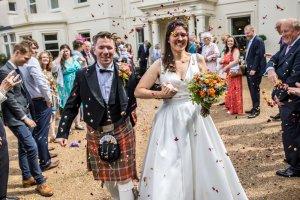 Confetti, wedding, bride, groom