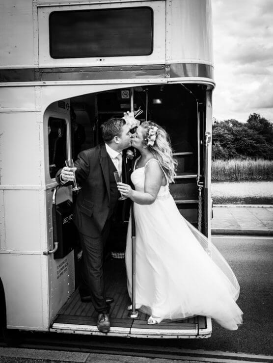 Bride groomon a London Wedding Bus