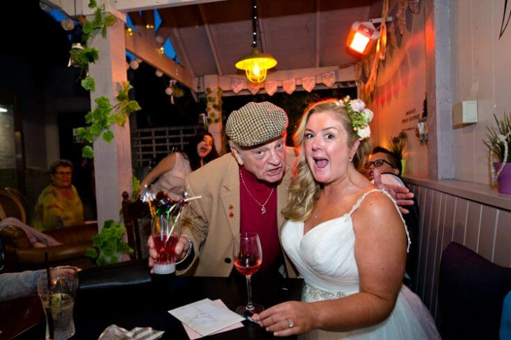 Del Boy with the bride at the George Belsize Park