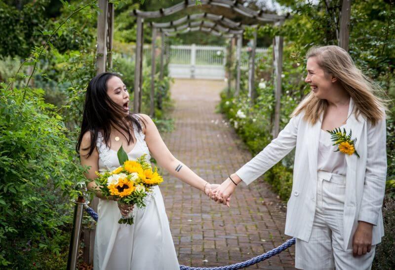 Gay, wedding, two brides,