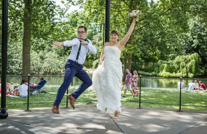 Bride & Groom jumping