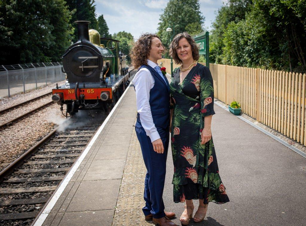 gay, wedding, two bride, railway,