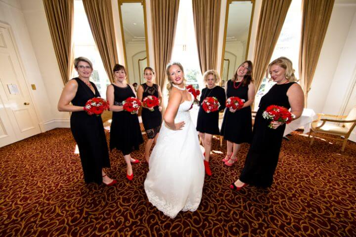 bride bridesmaids dress smile