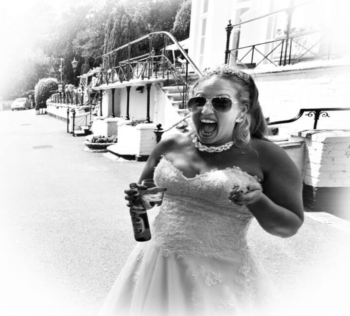 bride laugh smiles fun wedding