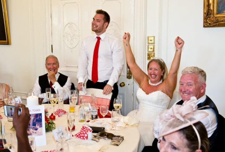 Laughter fun wedding breakfast