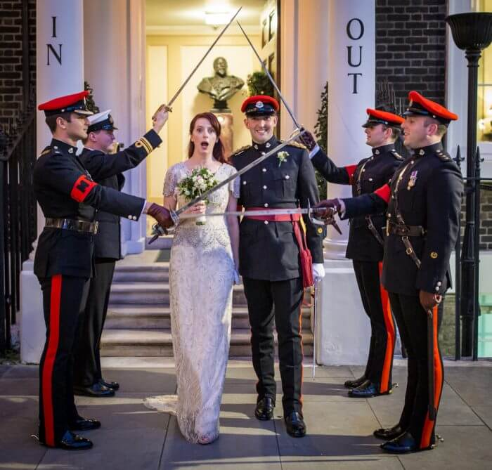 Navy Military wedding Piccadilly