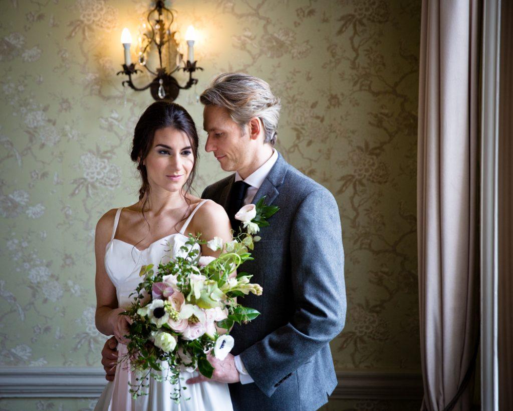 wedding bride groom dress bouquet flowers
