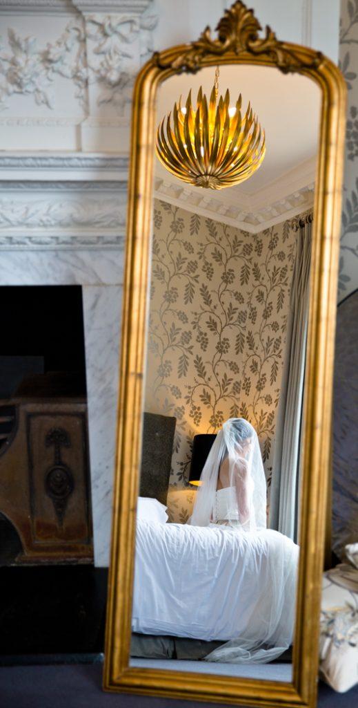 bride wedding light mirror dress