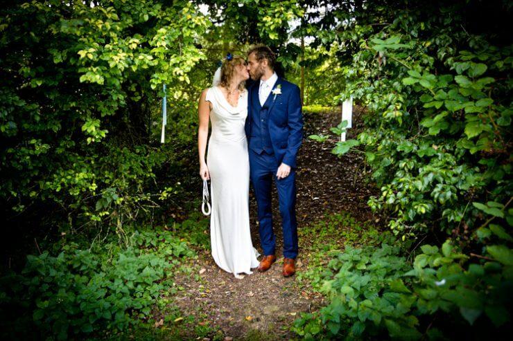 bride groom woods walk