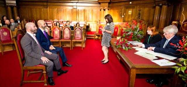 Islington Hall gay wedding Council Chambers