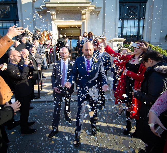 confetti manage gay wedding